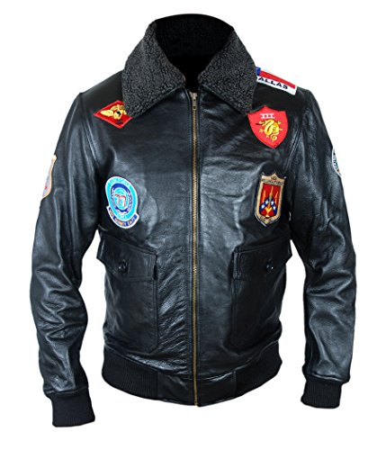 b72b8c8fc7d519 F H Men s 7 Patch Genuine Leather Tom Cruise Pete Maverick Top Gun Bomber  Jacket M Black