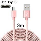 TheSmartGuard USB-C Kabel auf USB 2.0 | Nylon Ladekabel mit USB-Typ-C-Anschluss | Länge: 3 Meter/3m | Farbe: Rose-Gold