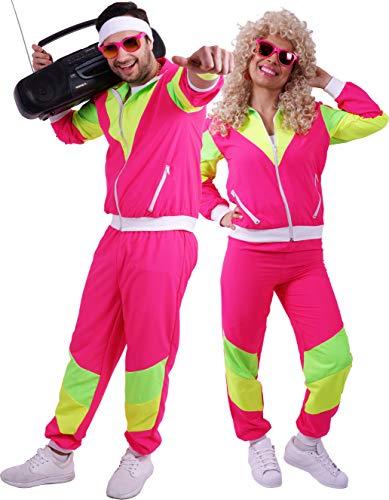 Sportler Kostüm Männer - FetteParty1A - 80-er 90-er Jahre Erwachsenenkostüm, Deluxe Trainingsanzug - Jogginganzug, Jacke und Hose, Mehrfarbig Pink/Gelb/Grün , Mottoparty Karneval JGA (S)