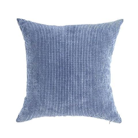 Pillow Covers Comfortable Soft Corduroy Corn Striped Decorative Throw Pillow Case Cushion Cover Denim Blue (18