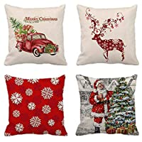 JuguHoovi Christmas Throw Pillow Covers Red Truck Pillow Cover Xmas Decorative Cushion Cases 18x18 Inches Set of 4 Pillowcases for Christmas, Office, Home, Car and Living Room Decoration