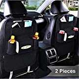 PRO365 2 Car Back Seat Organizer/Tissue Box/Mobile/Ipad/Cold Drinks/Multi Pockets (2 Pieces, Black)