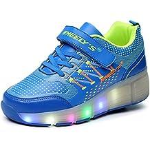 FLARUT Niños Zapatos Con Rueda Junior Led Zapatillas de Patìn Roller Sneakers Deportivos con luz