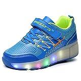 FLARUT Niños Zapatos Con Rueda Junior Led Zapatillas de Patìn Roller Sneakers Deportivos con luz(Azul,30)
