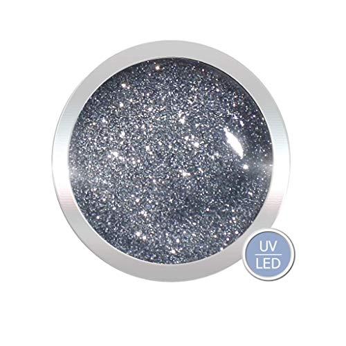 Glittergel für Gelnägel 5ml | UV LED Nagelgel Farbe: Silver/Silber | Gel hochpikmentiert | Nageldesign wie im Nagelstudio