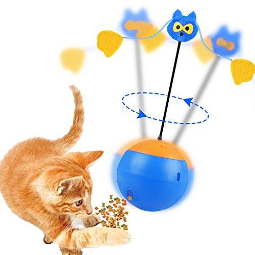 Sundaymot Juguete Interactivo para Gatos, 3 en 1, multifunción, Giratorio automático, Vaso de Juguete, dispensador de Alimentos para Gatos, Cachorros, Gatitos, Gatitos