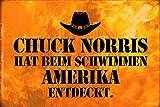 ComCard Chuck Norris hat beim Schwimmen Amerika entdeckt lustiges Metal Sign tin Schild aus Blech