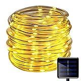 100 LEDs Solar Seil Lichterkette,KINGCOO Wasserdicht 39 ft/12 m kupfer Draht Outdoor Tube Lichterkette für Weihnachten Garten Yard Weg Zaun Baum Backyard (Warm weiß)
