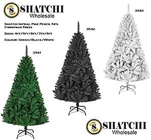 Shatchi Árbol de Navidad de pino imperial blanco de 4 pies, decoración de Navidad de calidad de lujo, decoración del hogar, fácil de instalar, con bisagras, 120 cm, 3078 puntas