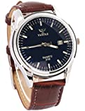 Men Quartz Business Style Wrist Watches With Blue Ray Glass Black Dial and Brown Leather Band