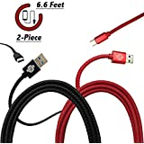 USB Type C Cable, Run2Win Safety, Genuine Leather Braided {Red & Black 2-Pack} 6.6 Ft Super-Strong USB C To USB A 3.0 Fast Charger Cord For Samsung Galaxy Note 8 S8 S8 Plus, Google Pixel XL, LG G6 V20