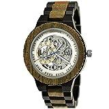 Handgefertigte Holzwerk Germany® Automatik Herren-Uhr Öko Natur Holz-Uhr Holz Armband-Uhr Braun Schwarz Silber Analog