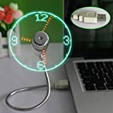 Daorier LED USB Smallest Flexible Gooseneck Arm Lightest Fan with Clock Time