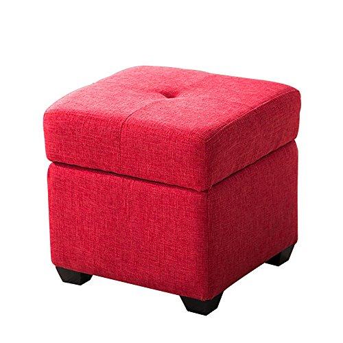 ZXQZ Tabouret coloré en Bois Solide/Tabouret de Chaussure de Foyer/Tabouret de Stockage de Chambre à Coucher (6 Couleurs facultatives) Repose-Pieds de Stockage (Couleur : Rouge, Taille : 30 * 36cm)
