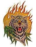Unbekannt Sticker / Aufkleber / Wandtattoo / Fensterbild - auch als Laptopsticker - Tiger mit Flamme - Folie Glimmer Skin - Zootiere Zootier - Wandaufkleber + Fenstersticker Tribal Afrika