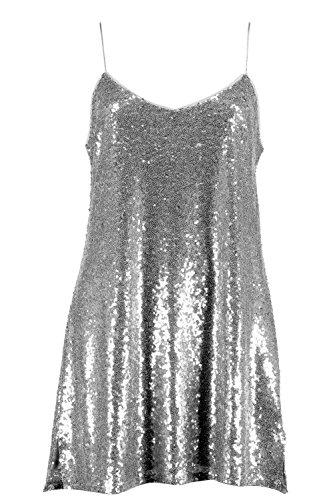 gris Femme Collection Issy Robe Nuisette À Bretelles Et Sequins Gris