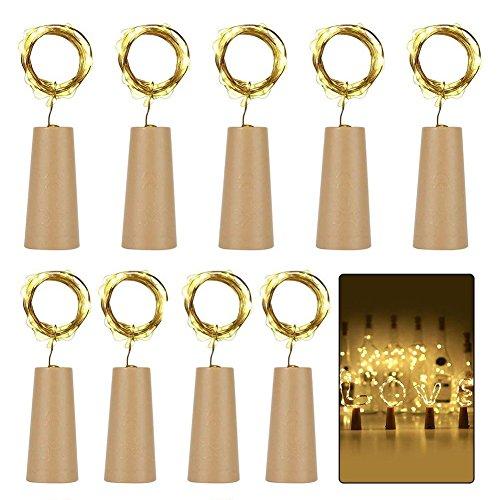 9x 20 LED Flaschen-Licht, YAYA*DD Flaschenlichter Lichterketten Nacht Licht Weinflasche Flaschenlicht Kork Flaschen Licht LED Lichter Lichterkette Flaschen DIY- 39 inch- [ Warm-weiß] Flaschen Lichter für Hochzeit Party Romantische Deko