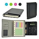 Legante Spirale Taccuini, PU Agenda Organizer B5 Taccuini, Con Solare Calcolatrice, Note adesive, Slot per schede e Penna Per Professional e uso Personale Nero (7.2 x 5.5 x 1 in)
