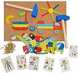 XL - Hammerspiel 229 Teile - Auto - Klopfspiel Nagelspiel Nagel - bunt - 2 Stück Hammer - aus Holz