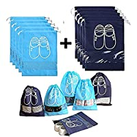 Household Travel Dust-proof Shoe Organizer Bags,Drawstring,Transparent Window,Space Saving Storage Bags,Cherioll Pack of 10 (Shoe bags)