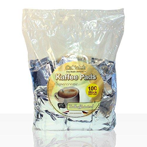 Cafeclub Kaffee-Pads Supercreme entkoffeiniert - 100Stk einzeln verpackt, Pad für zb Senseo,...