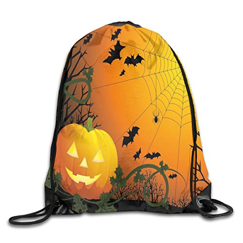 GONIESA Fashion New Drawstring Backpacks Bags Daypacks,Halloween Themed Composition with Pumpkin Leaves Trees Web and Bats,5 Liter Capacity Adjustable for Sport Gym Traveling