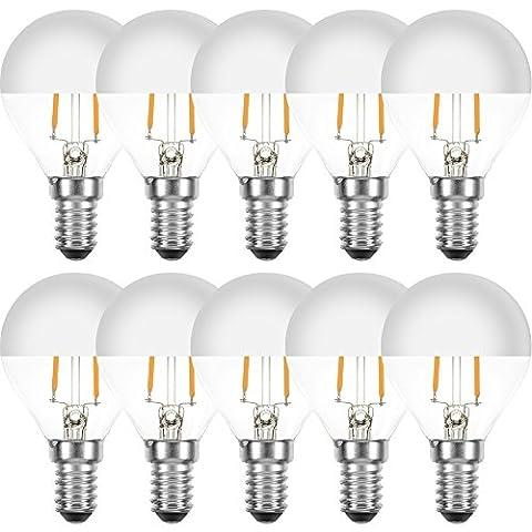 10 x LED Filament Leuchtmittel Tropfen 2W = 25W E14 Kopfspiegel Silber Glühfaden extra warmweiß 2200K Retro