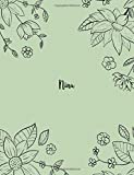 Nina: 110 Ruled Pages 55 Sheets 8.5x11 Inches Pencil draw flower Green Design for Notebook / Journal / Composition with