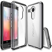 Funda Nexus 5X, Ringke [FUSION] Choque Absorción Funda de parachoques y Protección gota [GRATIS Protector de pantalla] Prima Clear Back duro para Google Nexus 5X 2015 (No para Nexus 5 2013) - Smoke Black