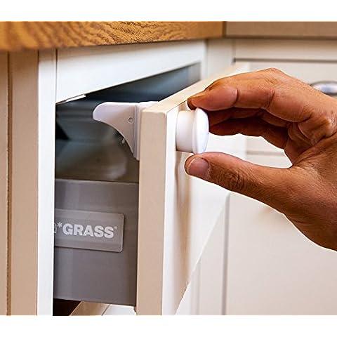 Magnetica Baby sicurezza serrature, 4+ 1set, facile installazione, Fissativo Adesivo 3M viti non necessarie.