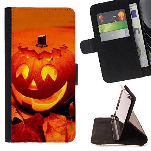 Graphic4You Halloween Allerheiligen Thema Kürbis Design Brieftasche Leder Dünn Hülle Tasche Schale Schutzhülle für Samsung Galaxy Note 9