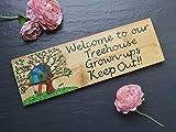 Ruskin352 Baumhaus Holzschild für den Garten, Personalisierbar, Spielhaus Wendy House Plakette, Turm, Holz, Bäume, Erwachsene, Keep Out Welcome
