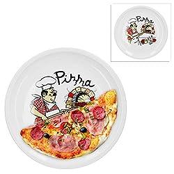 Van Well 2er Set Pizzateller groß Ø 30.5 cm mit Küchenchef-Motiv Gastro-Zubehör Pizza-Bäckerei stabiles Porzellan-Geschirr Grill-Teller Servier-Platte Antipasti