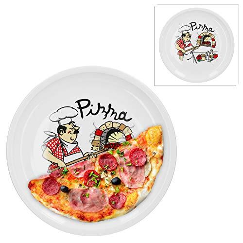 Van Well 2er Set Pizzateller groß Ø 32.5 cm mit Küchenchef-Motiv Gastro-Zubehör Pizza-Bäckerei stabiles Porzellan-Geschirr Grill-Teller Servier-Platte Antipasti