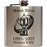 E-Volve Petaca Hip Flask - 6oz - acero inoxidable - Plata - RWC Rugby World Cup Champions South Africa 1995 2007