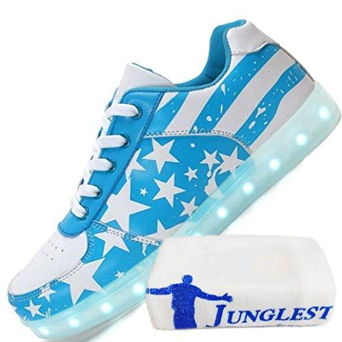 (present: Pequena Toalha) Junglest® Unisex Alta Top 7 Cores Piscando Tênis De Led Sapatos Femininos Alta Azul-claro Mudança De Cor Li