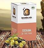 Brotbackmischung Bio Toskana in the Box, Mediterranes Brot, 1er Box, Dinkel, weizenfrei, vegan, Brot Backmischung zum selber backen im Brotbackautomat oder Backofen (1 x 635 g für 1 kg Brotteig)