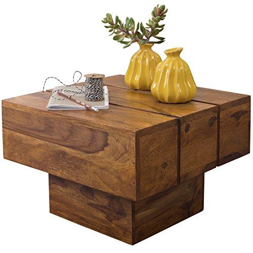 Wohnling Couchtisch Viereckig Massivholz Design Wohnzimmertisch 44 x 44 cm Quadrat 30 cm Beistelltisch Cube Modern Klein quadratisch Natur Holz Landhaus-Stil ausgefallen indisch Braun Wohnzimmermöbel