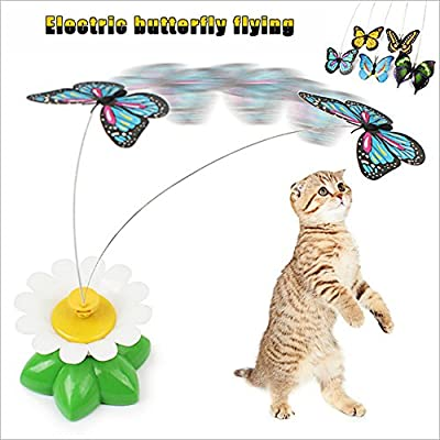 Easylifer Funny Pet Cat Kitten Interactive Toys Electric Rotating Butterfly Rod Pet Cat Teaser Play Toy For Cat/ Kitten Catching, Playing, Hunting(Random Color)