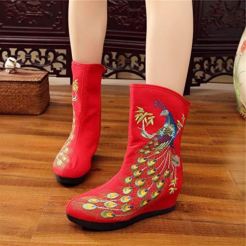 HOESCZS Frauen Schuhe Chinesischen Stil Stickerei Leinwand Bestickt Schuhe Im Herbst Und Winter Erhöhte Steigung Mit Frauen Stiefel Bequeme Warme Gesteppte Stiefeletten, Rot, 38 - Gesteppte Stiefel