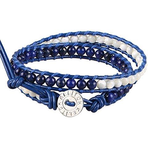 KELITCH Lapis Lazuli e Shell-perla Cuff Bracciale - Blu Pelle