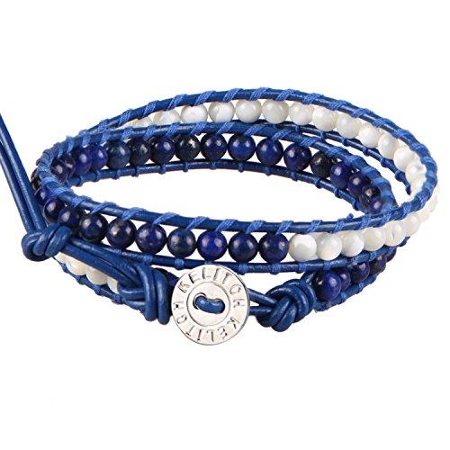 kelitch-lapis-lazuli-et-shell-pearl-2-strand-bracelet-bleu-cuir