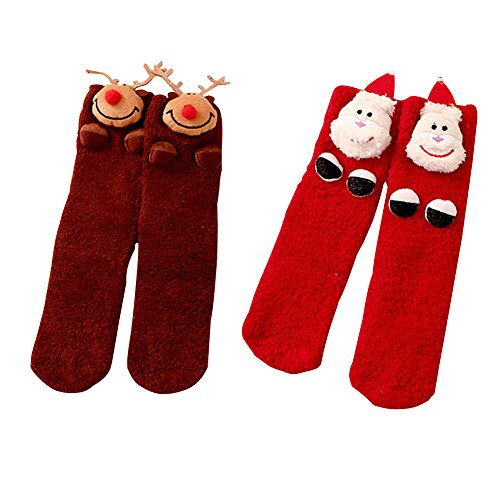 2 Pairs 3D Christmas Socks for Women, Girls - DesignerBox Fuzzy and...