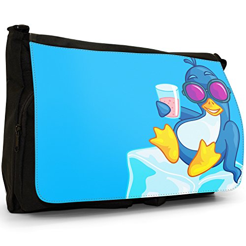 Fancy A Bag Borsa Messenger nero Penguin In Shark Trouble Penguin Chilling Out On Ice With Cool Drink