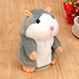 KIMODO Talking Hamster, Electronic Pet Talking Plush Buddy Mouse for Kids, Repeats What You Say Funny Toys (Gris)