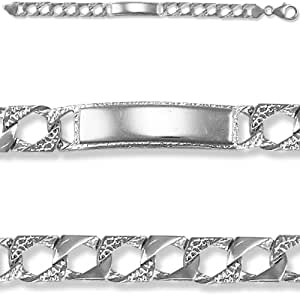 Jewelco London Rhodium Coated Sterling Silver Casted Curb I.D Identity Bracelet - Children's