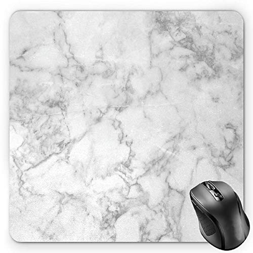 BGLKCS Marble Mauspads Mouse Pad, Nature Granite Pattern with Cloudy Spotted Trace Effects Marble Artistic Image, Standard Size Rectangle Non-Slip Rubber Mousepad, Pale Grey Dust