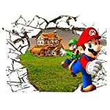 JUNMAONO Super Mario Bros Wandaufkleber/Wandgemälde/Wand Poster/Wandbild Aufkleber/Wandbilder/Wandtattoo/Tapete/Tapezieren/Tapeten/Wand Zeitung/Instant Aufkleber