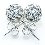 Busy Bead Pair of Shamballa Stud Earrings With Crystal Rhinestone Clay Disco Ball 10mm