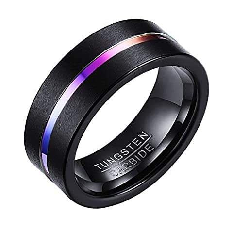 OAKKY Mens Tungsten Ring Carbide Brushed Engagement Wedding Band Groove